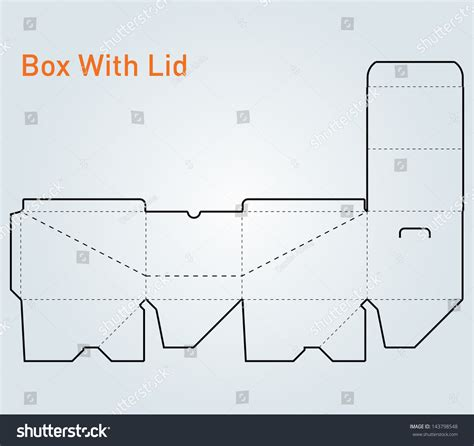 rectangle box with lid template packaging square box with lid template vector 143798548