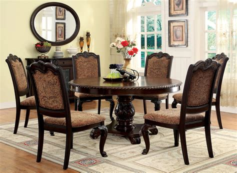 merlot 7 piece formal dining room set table 4 side chairs furniture of america brown cherry georgetown 7 piece