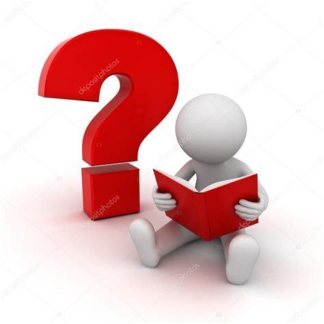 preguntas interrogantes investigacion 3d man zitten en lezen van een boek met een rood
