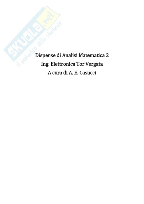 Analisi 2 Dispense by Appunti Per Passare Analisi Matematica 2