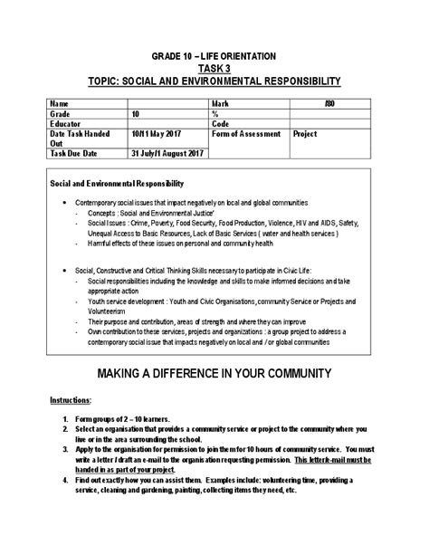 Pdf Grade 10 Life Orientation Task 3 Topic Social And