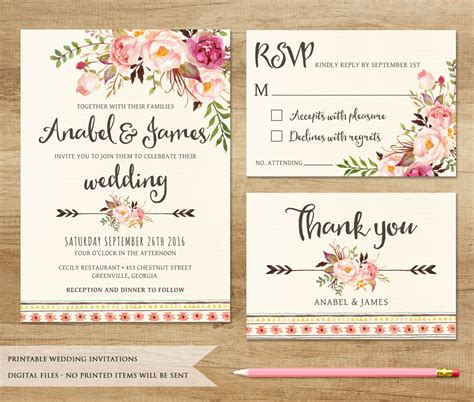 free printable wedding invitations and rsvp cards floral wedding invitation printable wedding invitation
