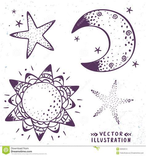 estrella del sol de la luna en c 237 rculo del arco iris luna estrellas sol ilustraci 243 n del vector imagen 56942514
