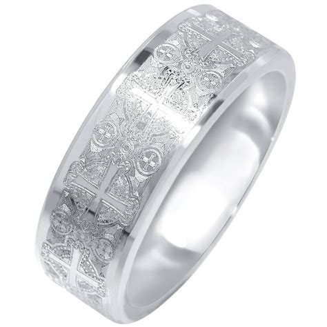 mens cross design wedding band in tungsten 8mm with bands