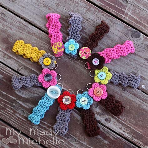 crochet pattern key crochet key chain bracelet with flower and button looks