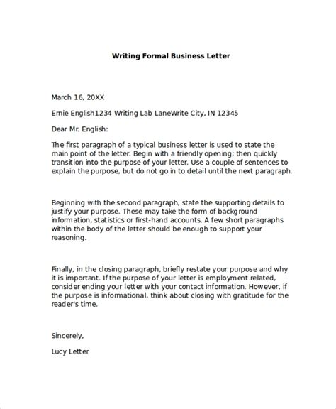 formal business letter formats ms word