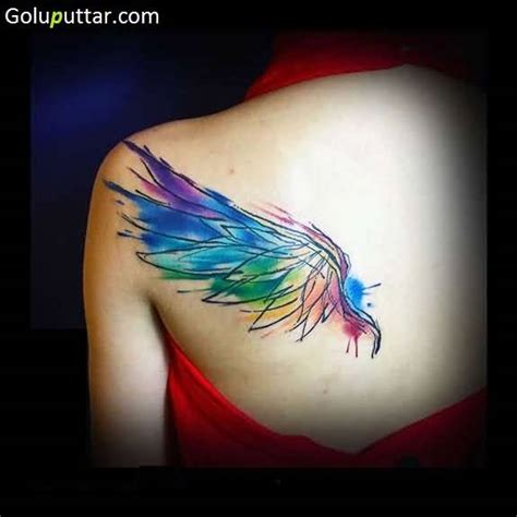 watercolor tattoo wings wing tattoos