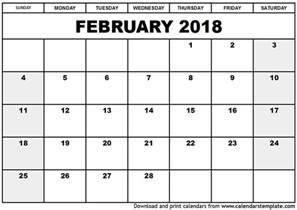 Calendar 2018 Unsw February 2018 Calendar Calendar Printable Free