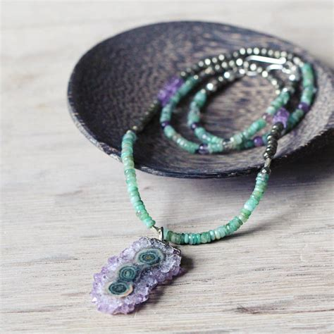 amethyst and emerald necklace by artique boutique