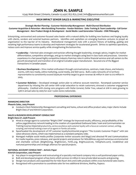 Director Resume Exles by Executive Managing Director Resume