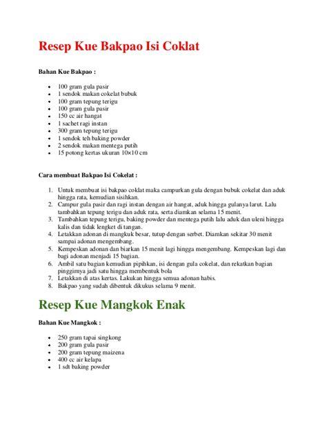 teks prosedur membuat puding resep kue bakpao isi coklat