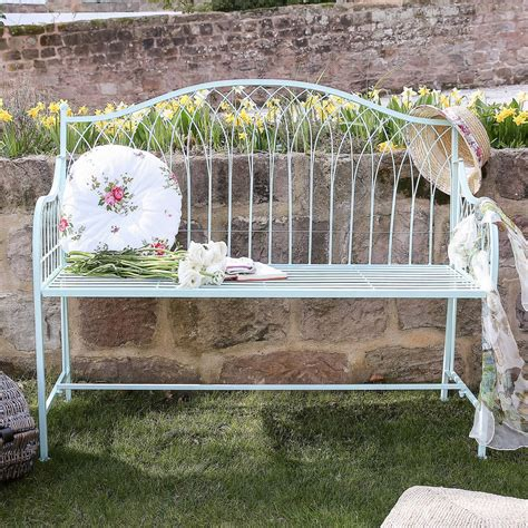 blue garden bench traditional duck egg blue garden bench with cushion by