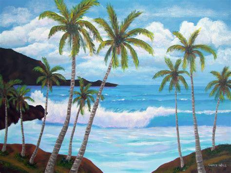 Wall Murals Beach Scenes tropical blue surf original acrylic 18 quot x 24 quot paintings