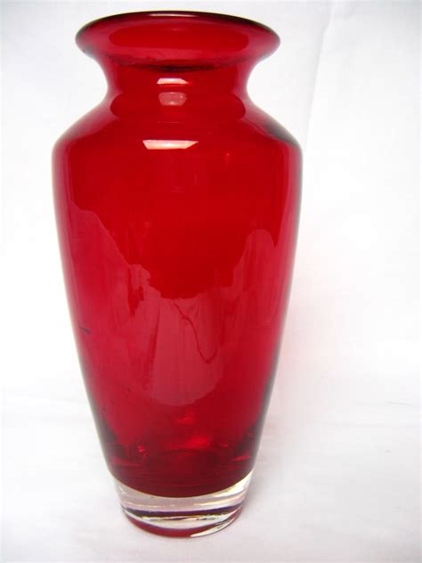 Ruby Vase by Ruby Cranberry Blown Glass Vase Ebay