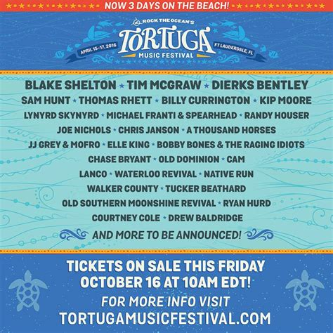 country fan 2017 lineup tortuga festival lineup announces 2016 lineup
