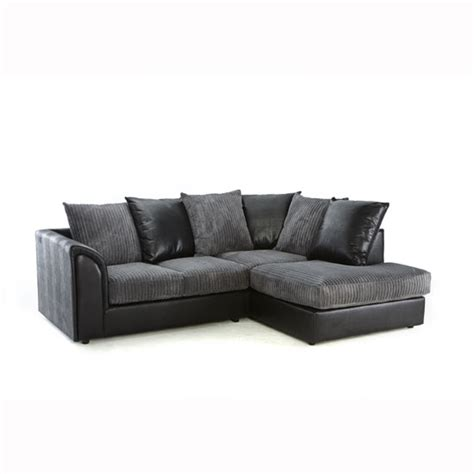 Angelic Corner Sofa In Black Faux Leather And Grey Fabric Black And Grey Leather Sofa