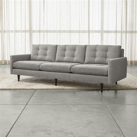 gray mid century sofa large gray midcentury button tufted sofa