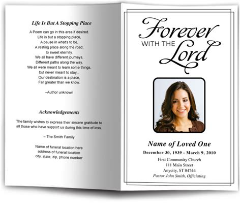 funeral programs templates simple funeral program templates black white memorial