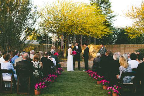 colorful backyard vintage wedding in az junebug