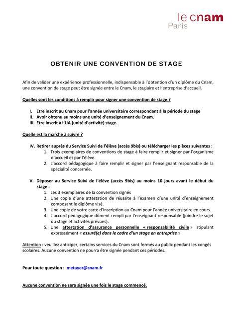 Convention De Stage Lettre Cnam Demander Une Convention De Stage