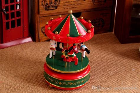 vintage wooden merry   carousel  box kids children girls christmas birthday