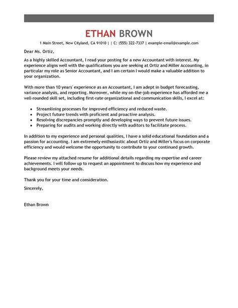 Bank Accountant Cover Letter by Leading Professional Accountant Cover Letter Exles Resources Myperfectcoverletter