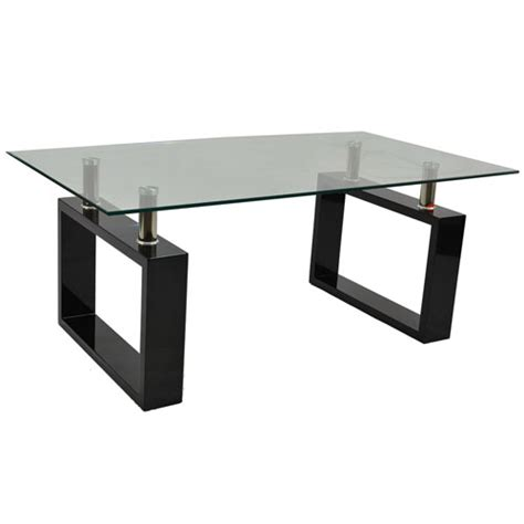 monza contemporary rectangular glass coffee table in black
