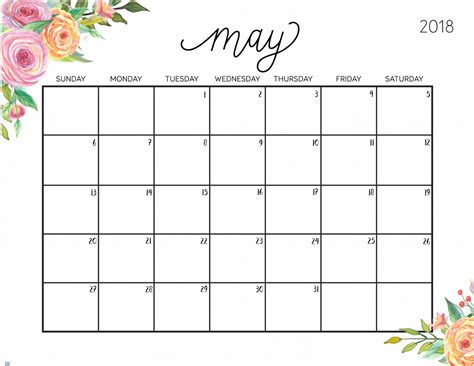 free calendar template may 2018 free printable 2018 calendar with weekly planner