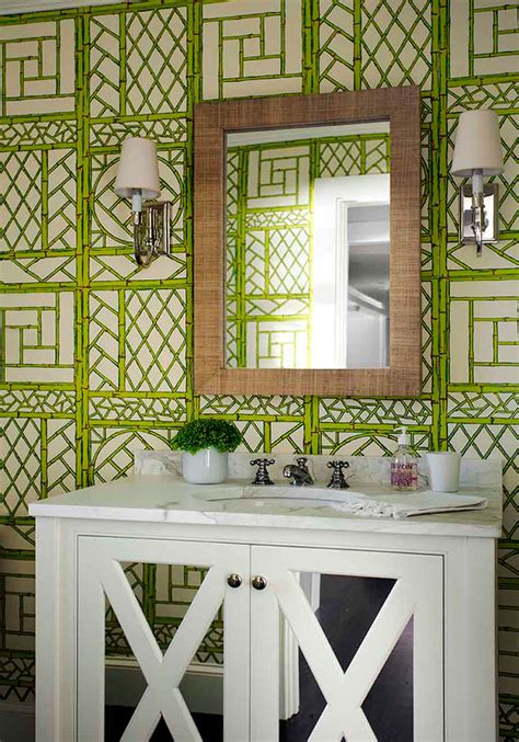 attractive Above Bed Wall Decor #4: green-trellis-bathroom-wallpaper-white-mirrored-bath-vanity.png