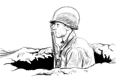 Soldier Drawing Outline by Sketch Wwii Gis