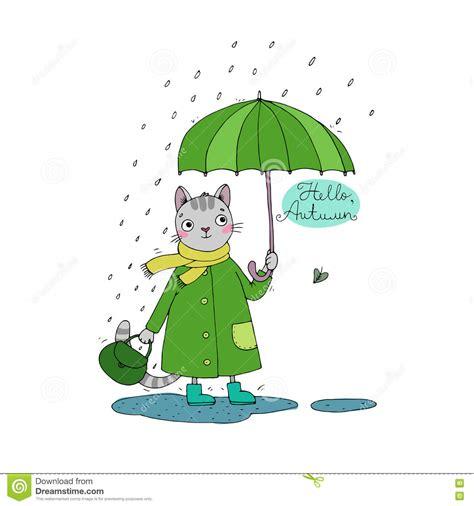 cute cartoon cat umbrella rain and puddles stock vector