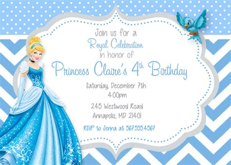cinderella invitation to the template cinderella princess birthday invitation by