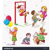 Vector Illustration Kids Playing Cartoon Concept Stock