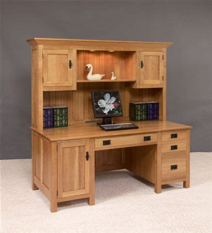 Large Computer Desk With Hutch Amish Large Mission Computer Desk With Hutch Top