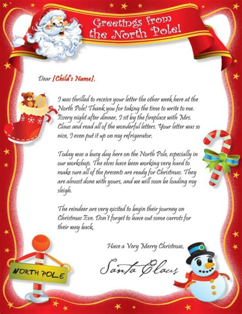 Response Letter From Santa santa s reply letter mailed or delivered digitally