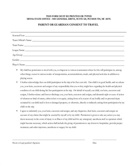 Parental Consent Letter For Grandparents Sle Travel Consent Forms 10 Free Documents In Pdf Doc