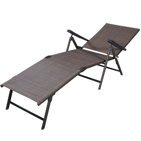 outdoor reclining chaise lounge patio furniture textilene adjustable pool chaise lounge