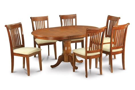 Dining Table With Upholstered Chairs 7pc Portland Oval Kitchen Dining Set Table 6 Upholstered Chairs Saddle Brown Ebay