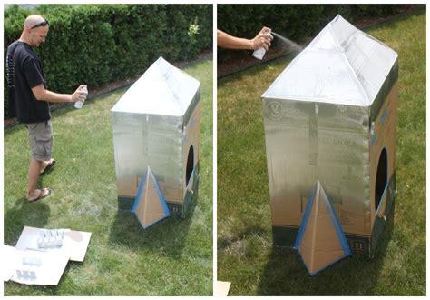 spray paint on cardboard cardboard box rocket ship diy rocket ship for
