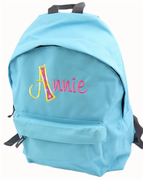 girls personalised embroidered applique backpack rucksack