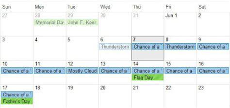 how to setup two weeks weather forecast on google calendar