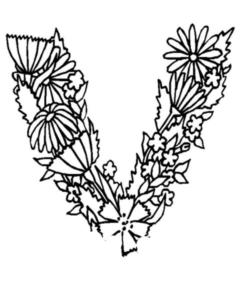 lettere con fiori immagini da colorare alfabeto fiori foglie cartoni da