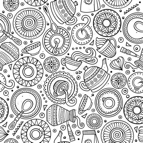 Coffee Shop Background Pattern Royalty Free Vector Image   cartoon hand drawn coffee shop seamless pattern stock