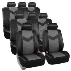 Car Seat Covers At Ebay 3 Row Car Seat Covers Leather 8 Seater Suv Set Gray Ebay