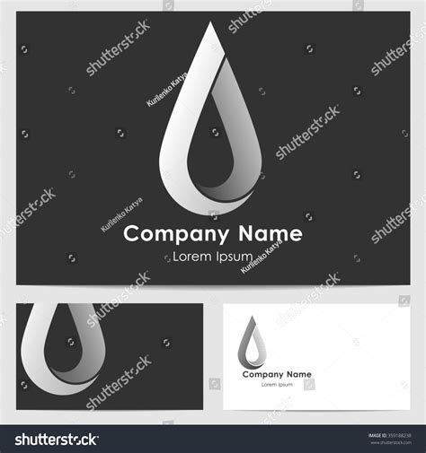 drop card template business monochrome card template logo drop stock