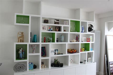 white open wall shelf designed with cabinet combine with