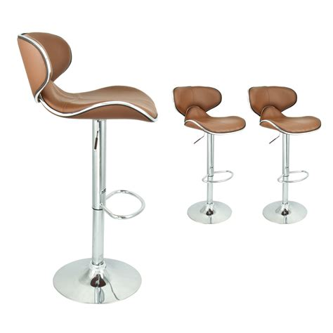 Modern Swivel Bar Stools by 2 Mocha Modern Adjustable Barstool Swivel Pu Leather Hydraulic Bar Stool