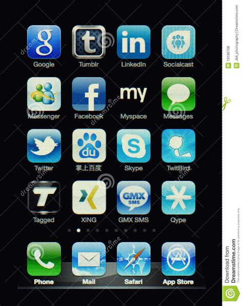 tattoo social network app iphone display with social network apps editorial stock
