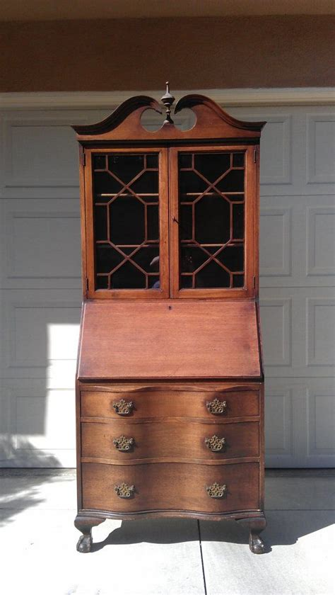 Gorgeous Chippendale Secretary Hutch Desk Antique Regecny Antique Desk With Hutch