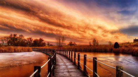 autumn river sky wooden bridge ultra hd